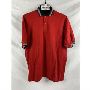 Vintage Men's L polo shirt Red Checkered Flag